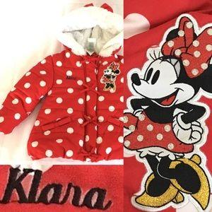 Disney Klara Minnie Mouse Puffer Coat Size 2-3